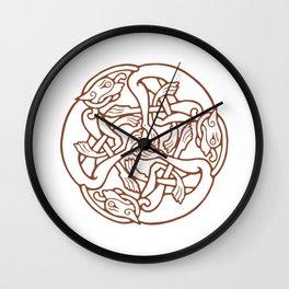 St. Patrick's Day Celtic Red Mandala #4 Wall Clock
