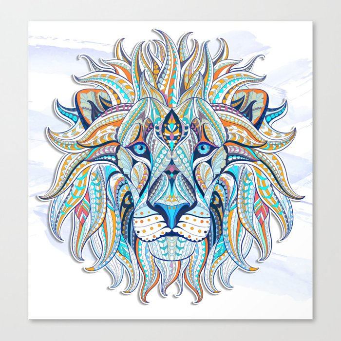 Blue Ethnic Lion Canvas Print