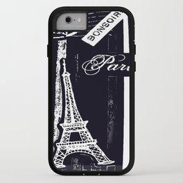bonsoir -black and white iPhone Case