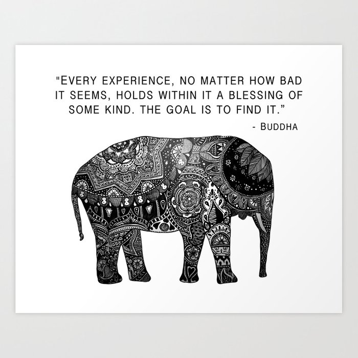 Buddha Quote With Henna Elephant Art Print By