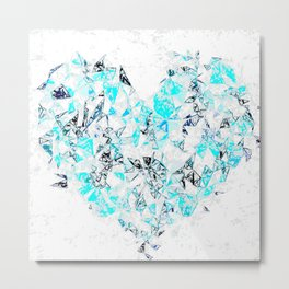 blue heart shape abstract with white abstract background Metal Print