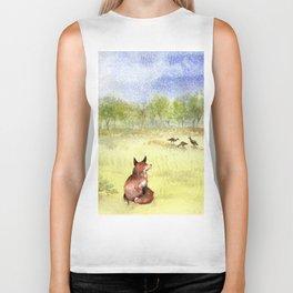 Red Fox Watching Wild Turkeys - Watercolor Biker Tank