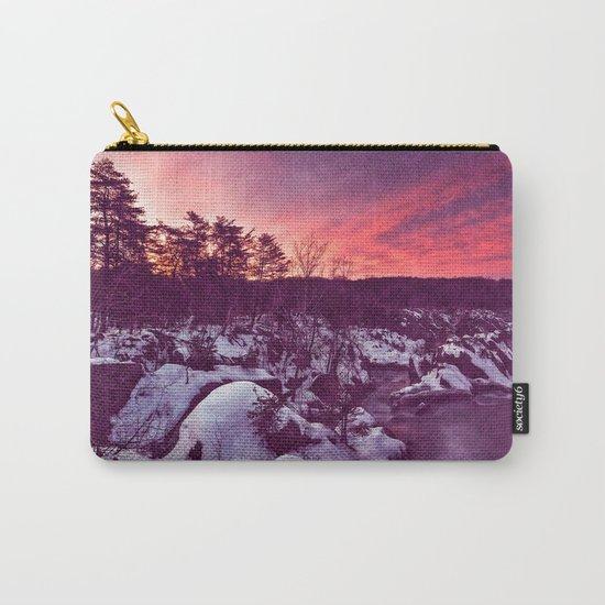 Great Falls Winter Twilight - Violet Velvet Fantasy Carry-All Pouch