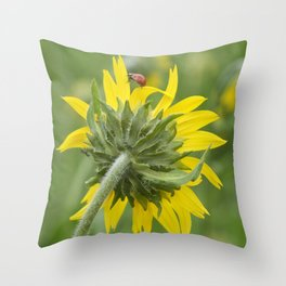 Ladybug climbing wildflower Throw Pillow