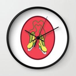 Lovely Gift Ice Skating Tshirt Design Skate heart Wall Clock