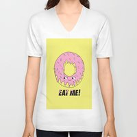 donut V-neck T-shirts featuring Donut by Eduardo Doreni