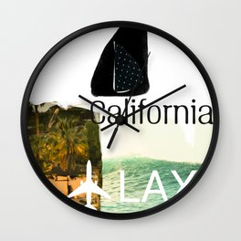 California. Lax. airport code. Surfing Wall Clock