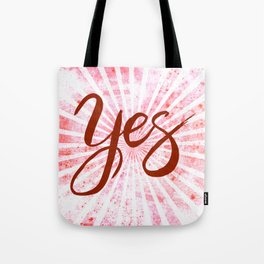 Yes, Red Grunge Rays Word Art Tote Bag