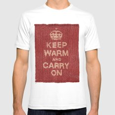 Winter Lovers I MEDIUM White Mens Fitted Tee