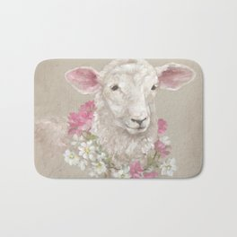 Sheep With Floral Wreath by Debi Coules Bath Mat