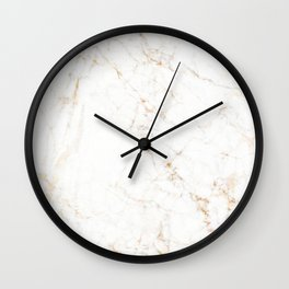 White Marble with Delicate Gold Veins Wall Clock