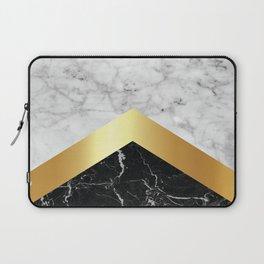 Arrows - White Marble, Gold & Black Granite #147 Laptop Sleeve