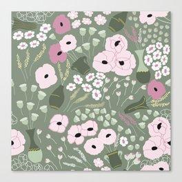 Pink Poppies - kaki floral pattern Canvas Print