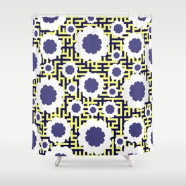 Floral maze in yellow and blue Shower Curtain