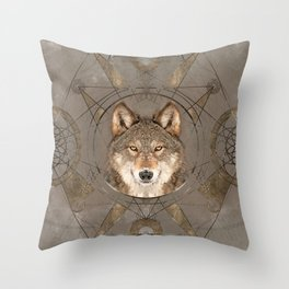 Wolf Sacred Geometry Digital Art Throw Pillow