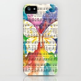 O Happy Day  Butterfly Watercolor on Sheet Music iPhone Case