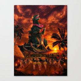 Rocking the Island - Tiki Art Hula Godzilla Canvas Print