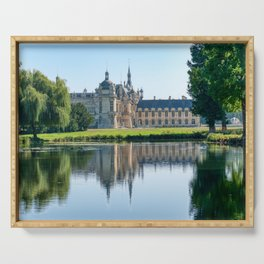 Rear view of Chateau de Chantilly with reflection in a pond - France Serving Tray