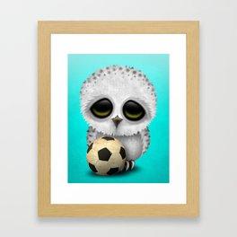 Cute Baby Owl With Football Soccer Ball Framed Art Print