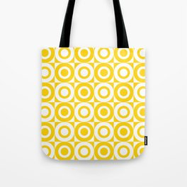Mid Century Square and Circle Pattern 541 Yellow Tote Bag