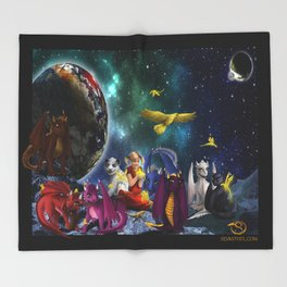 Dragonlings Space Party Throw Blanket