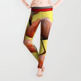 SURREAL FLAMINGOS CALLA LILIES RED ART Leggings