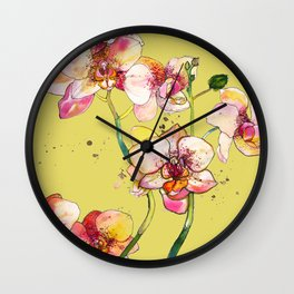 Pink Orchids in Yellow Wall Clock