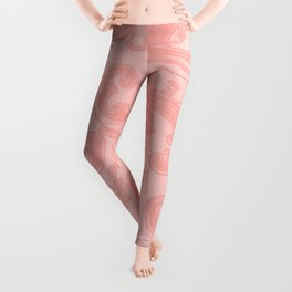 Retro Chic Swirl Peach Leggings