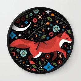 Flame Fox Wall Clock