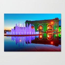 Kansas City Union Station Fountain Dusk Colors Canvas Print