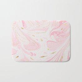 Modern faux gold glitter pastel pink elegant marble Bath Mat