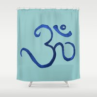 ohm Shower Curtains featuring Ohm / OM - Blue Plain by HollyJonesEcu