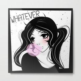Apathetic mood anime girl Metal Print