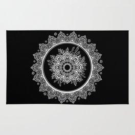 Bohemian Lace Paisley Mandala White on Black Rug