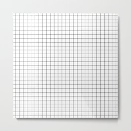 Black and White Thin Grid Graph Metal Print