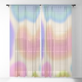 Funky Clouds (Dreamy Abstract Art) Sheer Curtain