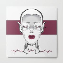 Graffiti Girl LISTEN Metal Print