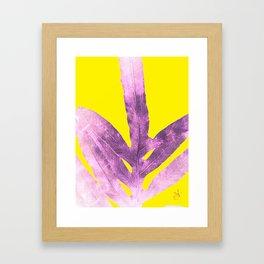 Green Fern on Bright Yellow Inverted Framed Art Print