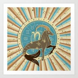Vintage Capricorn Zodiac Art Art Print