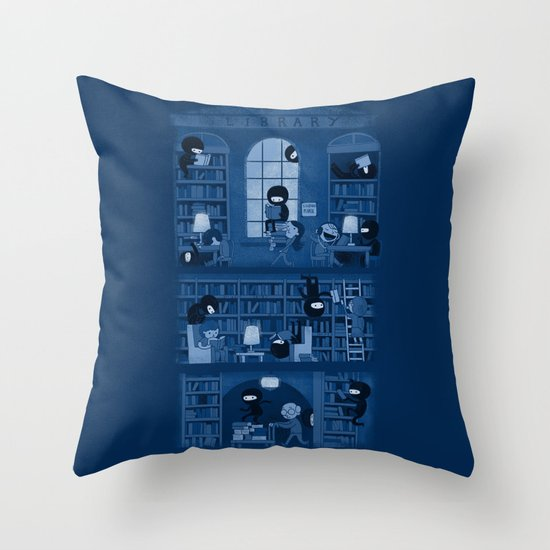 Silence in the Library Throw Pillow