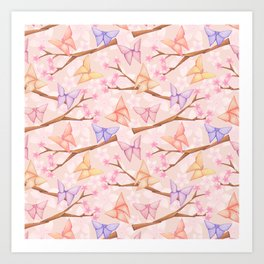 Cherry Blossoms & Butteflies Origami Art Print