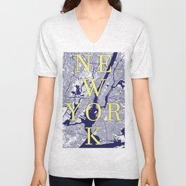 New York Typographic Print. NYC STREETS Unisex V-Neck