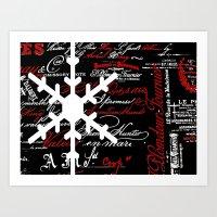 snowflake Art Prints featuring SnowFlake  by Saundra Myles