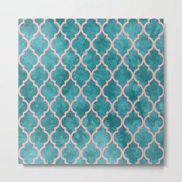 Classic Quatrefoil Lattice Pattern 910 Turquoise and Pink Metal Print