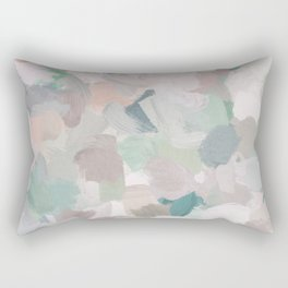 Mint Seafoam Green Dusty Rose Blush Pink Abstract Nature Flower Wall Art, Spring Painting Print Rectangular Pillow