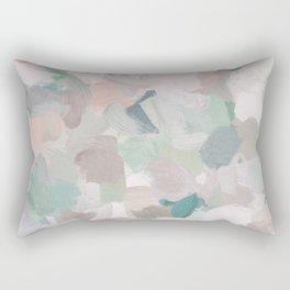Mint Seafoam Green Dusty Rose Blush Pink Abstract Nature Flower Wall Art, Spring Painting Print Rectangular Pillow