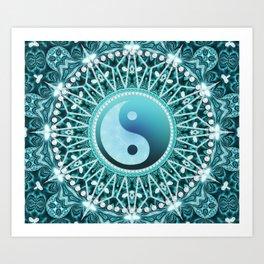 Tranquility Yin Yang Blue Aqua Mandala Art Print
