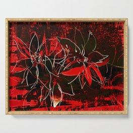 Schwarz rote Blüten Serving Tray