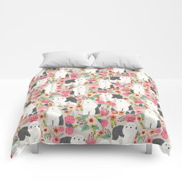 Old English Sheepdog floral dog breed pet art pattern gifts Comforters