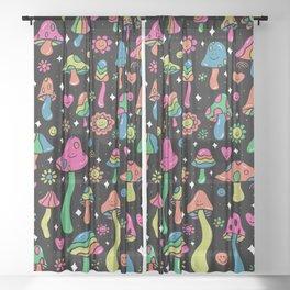 Rainbow Mushrooms Sheer Curtain